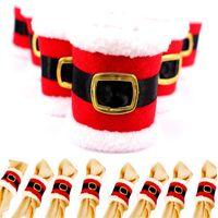 Рождество Санта-Клаус ремень пряжка салфетки кольца свадебный банкетный ужин декор салфетки Serviette держатели столовые украшения JK1910XB