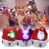 2020 Ano Novo Xmas festa de Natal Hat LED Light Up Noite chapéu de Santa filhos adultos Papai Noel da rena do boneco de neve