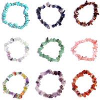 Натуральный заживление кристалл содалитовый чип драгоценный камень 18см растягивающийся браслет натуральный смешанный драгоценный камень чакра моды браслет пара браслетов