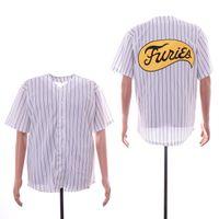 I Guerrieri Furies Jersey Bianco Pinstripes Cucito Mens Shirts Vendita calda A buon mercato Maglie da baseball Prese online