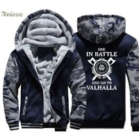Odin Vikings Hoodie Men Die In Battle And Go To Valhalla Hoo...