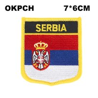 Флаг Сербии Вышивка Утюг на заплатах Вышивка Патчи Значки для одежды PT0152-S