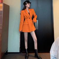 Высокая талия сексуальные женщины тонкий Bodycon нагрудные блейзеры двубортный пояс с длинным рукавом глубокий V-образным вырезом платье пальто куртка пиджаки осень