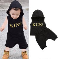 0-3Y Infant Baby Boys Clothes 2PCS Sleeveless Letter Print Hooded Tops Pants Outfits Sets Summer Tracksuit