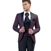 رفقاء العريس وسيم شال التلبيب العريس البدلات الرسمية للرجال فستان الزفاف الرجل سترة سترة حفلة موسيقية عشاء 3 قطعة بدلة (سترة + بنطلون + ربطة عنق + سترة) b13