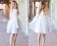 겸손한 짧은 칵테일 드레스 보석 무릎 길이 얇은 명주 그물 레이스 긴 소매 연예인 드레스 파티 저녁 착용