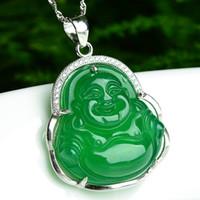 925 Hoogwaardige zilver ingelegd natuurlijke groene chalcedony lachende boeddha hanger mode vrouwen sieraden ketting jade jade special