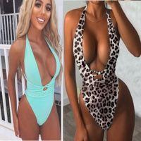 Sport hohe Taille Bikini eingestellt Ein Stück gedruckt V-Ausschnitt Krawatte Leoparddruck sexy Krawatte Rhinestonegurt unregelmäßig youfine Großhandel Badebekleidung tragen