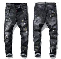 독특한 남성 리본 패널 스키니 블랙 청바지 패션 슬림 피트 씻어 Motocycle 데님 바지 패치 힙합 바지