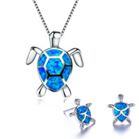 925 Sterling Silver Cute Turtle Pendant Necklace And Earring...