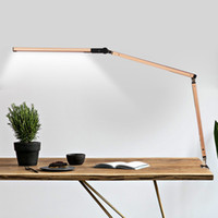 Oszczędność energii Nowoczesne LED Lampa Desk Dmermmer Eye Pielęgnacja Huśtawka Długie Ręki Business Study biurowe Studium Remote Desktop Światło do stołowej Oprawy 110V-240V