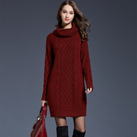 02b4a7113ff Wholesale plus size sexy sweater dresses for sale - 2018 Women Fashion  Turtleneck Thick Sweater Dresses