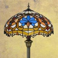 Lámpara de vidrieras de estilo retro de estilo europeo Lámparas de regalo de arte americano de la luz del dormitorio
