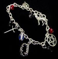 Vampier Tanden Charms Manchet Bracelet Vintage Zilveren Gothic Hekserij Gems Pentagram Wolf Sword Bohemian Anklets Armbanden Dames Sieraden 15 Stks