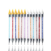 Çift Uçlu Tırnak Kalem Elmas Penholde Rhinestone Seçici Wax süsleyen Kalem DIY Manikür Tırnak Sanat süsleyen Aracı OOA8118 Matkap