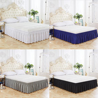 Home Hotel Elastic Bed Skirt 4 Colors Elastic Bed Ruffles fo...