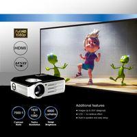 4800ルーメンフルHD LEDビデオプロジェクター1080p 3D USB VGAホームムービーTVプロジェクター、200インチディスプレイ、25倍デジタルズーム、3年保証