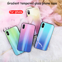 For iphone xs max phone case aurora gradient color tempered ...