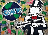 Alec Monopoly art Graffiti Gun Man The World is Yours HD Imprimer decores Peinture à l'huile sur toile Wall Art Toile Photos 200204