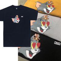 19SS KITH X Tom Jerry Kalp Tee Kedi ve Fare Sevimli Karikatür Baskılı Erkek Kadın T-shirt Basit Yaz Kısa Kollu Sokak Kaykay T-Shirt