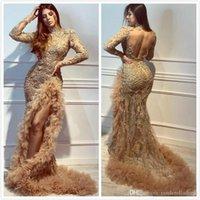 2020 or luxe sirène africaine robes de soirée à col en dentelle perlée de bal Robes de mariée demoiselle d'honneur formelle de Split Party Pageant Robes