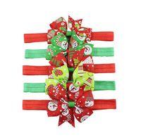 Yeşil / Kırmızı Renk Bebek Baş bandı ile Çiçek Bow Kar Snomen Ağacı Eldiven Tasarım Elastik Turbam Noel Kafa Wrap Saç Aksesuarları