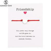 Neue Ankunfts-Make A Wish Karte Armbänder Art und Weise bunte Seil-Armband Edelstahl steeling überzog Herz-Charme-Armband für Frauen-Männer-Z