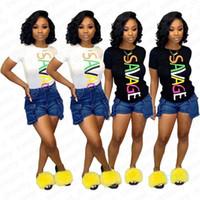 Femmes Vêtements Hauts été manches courtes T-shirts SAVAGE Casual Imprimer Pull T-shirts Tenues T-shirts Planche à roulettes Hip Hop Streetwear Top D42006