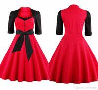 Новейшие лоскутные женщины рабочие платья красные с черным винтажным квадратным декольтером половина рукава качели женщины повседневное платье плюс размер fs1110