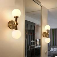 Lampada da parete moderna della sfera di vetro Lampada da comodino dell'interno della lampada da letto principale nordica della lampada dell'interno per la decorazione domestica Corridoio L'apparecchio E27