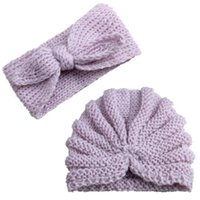 2pcs enfants nouveau-nés Laine Crochet Tricoté bowknot Turbans Bandeau chaud conception chapeau hairband automne enfant en bas âge d'hiver headwrap couvre-chef