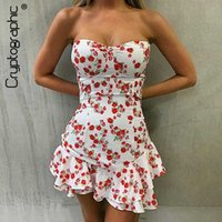 Cryptographic Sexy Strapless Backless Floral Print Mini Dres...