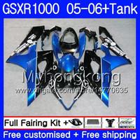 + Réservoir Pour Kit SUZUKI GSXR 1000 1000CC GSX R1000 2005 2006 + Réservoir bleu noir chaud 300HM.57 GSX-R1000 GSXR-1000 1000 CC K5 GSXR1000 05 06 Carénage