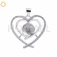 DIY Gift 925 Sterling Silver Double Heart Pendant Cubic Zirc...