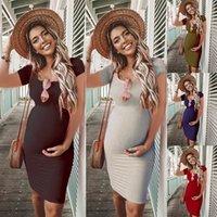 bunvel verano ajustado de las mujeres embarazadas Vestidos Solid Embarazo ropa de maternidad de manga corta vestidos de Premama desgaste de la ropa