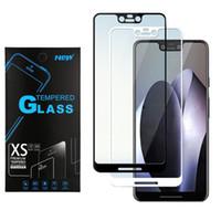 Foxxd Miro için Google piksel 3 XL 2 Alcatel 1x Samsung A6 LG V40 gelişmesi Tam Kapak Temperli Cam Ekran Koruyucu Ipek Baskılı Film