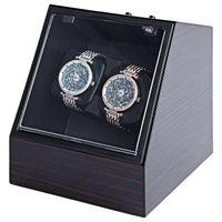 LISCN in legno Auto orologio silenzioso Avvolgitore a forma di polso trasparente forma irregolare con tappo EU Plug Luxury 2 Box Automatic Watch