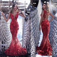Sexy Red Mermaid Prom Dresses V Neck Lace Applique Sweep Tra...