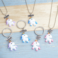 3pcs lot Best friends unicorn necklace keychains hot childre...