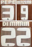 2010 2011 Real Madrid impression de football blanc ensemble de noms BENZEMA PEPE marquage à chaud de joueur de football RONALDO autocollants rétro en plastique de police impressionné