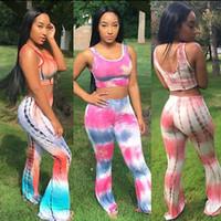 Tie Dye Flared Calças de cintura alta perna larga calças compridas Calças com Top Curto 2pcs Mulheres Roupa