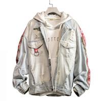 Moda denim foro allentato manica lunga Casual Jacket Bomber Hip Hop uomo Retro Denim Streetwear