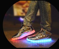 Youth Led usb charging luminous shoes for girls boys male fe...