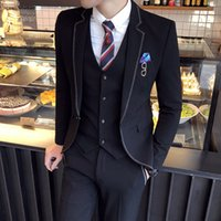 Business Office Work Black Men Suit 3 Piece Flat collar One ...