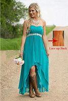 Fantaisie chérie Femmes 'Bustier Haute Basse Pays Style Robes De Demoiselle D'honneur De Mariage Robes Turquoise Avec Cristal Perles Ceinture