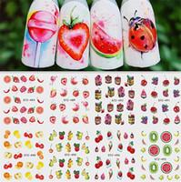 Sıcak Karışık Tasarım Yaz Meyve Retro Kek Nail Art Sticker Set Harajuku Eleman Su Transferi Çıkartma Manikür Aracı İpuçları Nail Art Süslemeleri
