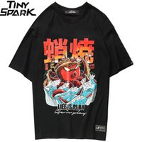 T-Shirt Hip Hop 2018 Streetwear Oversize Funny Octopus Uomo T-Shirt Harajuku Stile giapponese Estate Supera it Tshirt in cotone Nero