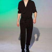 Jumpsuit pour les hommes Pantalons Afficher Salopette Casual lâche printemps et l'été Tide Costumes chanteur Styliste de cheveux Jumpsuit hommes Taille Plus
