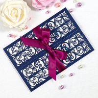 New Navy Blue Laser Cut Invitation Cards With Ribbons For We...