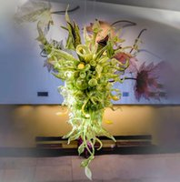 Now Trending Hotel Large Nepenthes Chandelier Indoor Miscellaneous Hand Blown Glass Foliage Chandelier for Entrance Halls Reception Areas